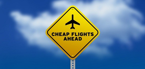 Cheap Flights Ahead Road Sign